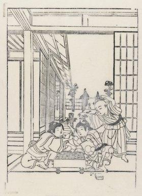 Two Boys Playing Shogi with a Third Observer