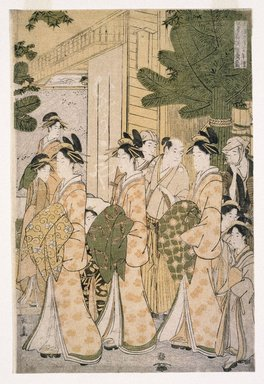 Eishusai Choki (Japanese, died 1805). New Years Parade of the Beauties of the Green Houses, ca. 1785-1790. Woodblock color print, 12 x 29 1/16 in. (30.5 x 73.8 cm). Brooklyn Museum, Brooklyn Museum Collection , X1119.5