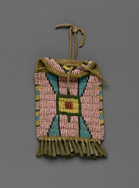 Cheyenne (Native American). Ration Ticket Bag, late 19th-early 20th century. Beads, metal, hide, 3 1/2 x 4 3/4 in. (8.9 x 12.1 cm). Brooklyn Museum, Brooklyn Museum Collection, X1126.9. Creative Commons-BY