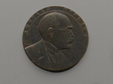 Julio Kilenyi (American, born Hungary, 1885-1959). Rudyard Kipling 70th Birthday Tribute Medal, 1935. Bronze, 3 x 3 x 1/4 in. (7.6 x 7.6 x 0.6 cm). Brooklyn Museum, Brooklyn Museum Collection, X1180.4. Creative Commons-BY