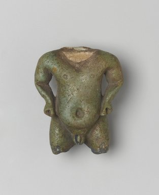 Fragmentary Amulet of Pataikos, 1539-30 B.C. Faience, 1 15/16 x 1 1/2 in. (5 x 3.8 cm). Brooklyn Museum, Brooklyn Museum Collection, X1182.2. Creative Commons-BY