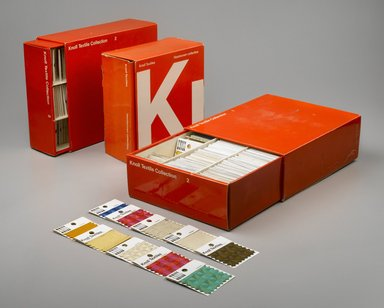 "(of graphics) Lella Vignelli, for Unimark. ""Knoll Textiles Collection 2"" Sample Kit, ca. 1967. Cardboard, paper, textiles, 4 x 11 1/2 x 9 3/4 in. (10.2 x 29.2 x 24.8 cm). Brooklyn Museum, Brooklyn Museum Collection, X1188.2. Creative Commons-BY"