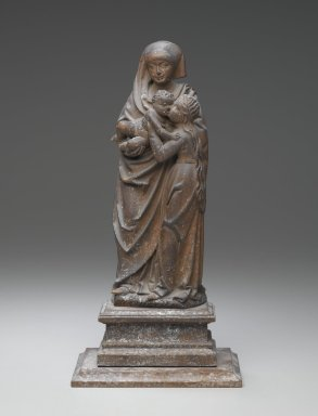 Unknown German. Virgin and Child with St. Anne, 16th century (possibly). Wood, 12 x 16 x 3 in. (30.5 x 40.6 x 7.6 cm). Brooklyn Museum, Brooklyn Museum Collection, X1191