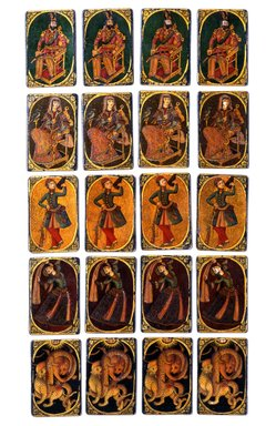 Bibi or Queen Playing Card for the Game of Nas, mid 19th century. Ink, opaque watercolor, and gold on wood or papiermâché