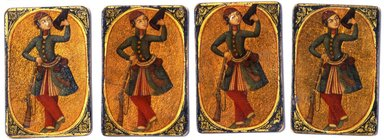 Serbaz or Soldier Playing Card for the Game of Nas, mid 19th century. Ink, opaque watercolor, and gold on wood or papiermâché