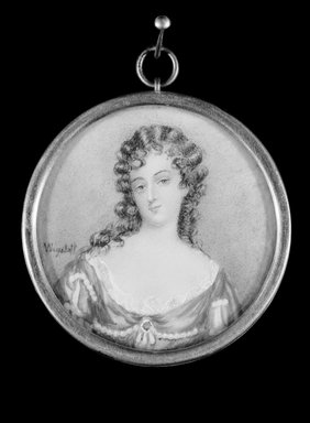Charles Edward Wagstaff (born England, 1808, active in America from 1840-after 1851). Portrait of a Young Lady, n.d. Watercolor on ivory in metal locket with glass lens, Image (sight): 2 x 2 in. (5.1 x 5.1 cm). Brooklyn Museum, Brooklyn Museum Collection, X513