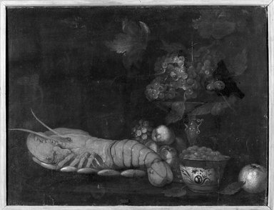 John David de Heem (Dutch, 1604-1674). Lobster and Fruit. Oil on canvas mounted on board, 25 x 32 3/4 in.  (63.5 x 83.2 cm). Brooklyn Museum, Brooklyn Museum Collection, X520