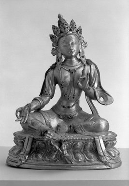 Gilt  Bronze Tara, 1736-1796. Gilt bronze, 11 x 8 1/2 in.  (27.9 x 21.6 cm). Brooklyn Museum, Brooklyn Museum Collection, X620. Creative Commons-BY