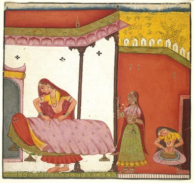 Indian. Vasaka Sajja Nayika, ca. 1690. Opaque watercolor on paper, sheet: 6 15/16 x 6 3/4 in.  (17.6 x 17.1 cm). Brooklyn Museum, Brooklyn Museum Collection, X623.2