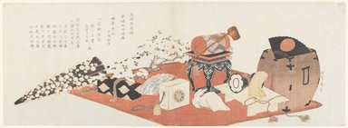 Katsushika Hokusai (Japanese, 1760-1849). Announcement of a Farewell Performance of Bando Mitsugoro III, 1820. Color woodblock print, 21 7/8 x 7 11/16 in.  (55.2 x 19.8 cm). Brooklyn Museum, Brooklyn Museum Collection, X632.3