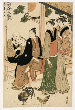 Torii Kiyonaga (Japanese, 1752-1815). Looking-at-each-other-meeting, 19th century. Color woodblock print, 9 7/8 x 14 15/16 in.  (25.1 x 38.0 cm). Brooklyn Museum, Brooklyn Museum Collection, X632.4