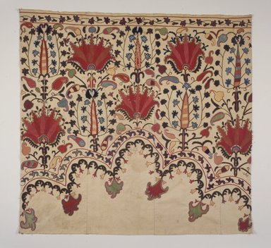 Textile fragment, border originally part of niche design., 19th/20th century. Cotton, multicolored embroidery, 38 3/8 x 40 3/16 in. (97.5 x 102 cm). Brooklyn Museum, Brooklyn Museum Collection, X674. Creative Commons-BY