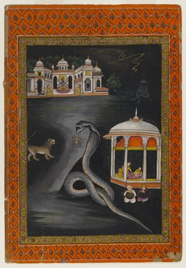 Indian. Krishna Carried Across the River, First half 19th century. Opaque watercolor and gold on paper, sheet: 10 5/8 x 7 5/16 in.  (27.0 x 18.6 cm). Brooklyn Museum, Brooklyn Museum Collection, X689.4
