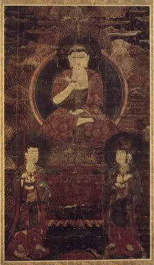 Amitabha Buddha Triad, ca. 16th century. Hanging scroll, ink, color, and gold on hemp, Image: 36 5/16 x 20 7/8 in. (92.2 x 53 cm). Brooklyn Museum, Brooklyn Museum Collection, X715