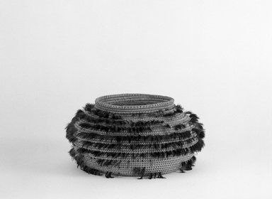 Pomo (Native American). Single/Coiled, Ribbed Weave Basket decorated with blue and green feathers, late 19th-early 20th century. Fiber, feathers, 3 1/8 x (dia) 3 1/2 in. or (8.0 x 8.9 cm). Brooklyn Museum, Brooklyn Museum Collection, X719.3. Creative Commons-BY