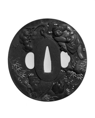 Tsuba (Sword Guard), 1853. Chiseled iron, inlay of copper, shakudo, and shibuichi; gilding