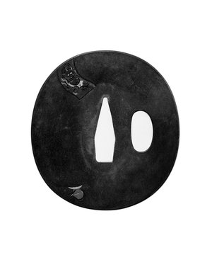 Tsuba (Sword Guard), 19th century. Shibuichi, iroe, 2 11/16 x 2 1/2 in. (6.8 x 6.3 cm). Brooklyn Museum, Brooklyn Museum Collection, X759.1. Creative Commons-BY