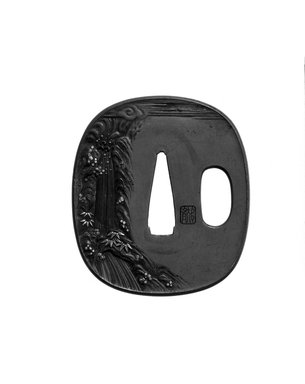 Tsuba (Sword Guard), mid 19th century. Copper, iroe, 2 3/8 x 2 1/8 in. (6 x 5.4 cm). Brooklyn Museum, Brooklyn Museum Collection, X759.8. Creative Commons-BY