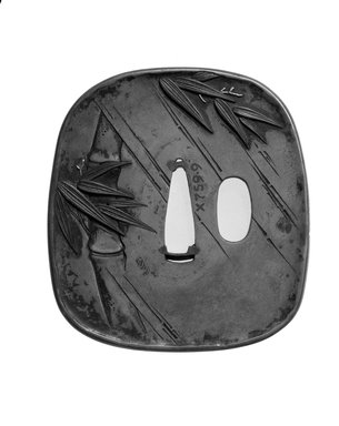 Tsuba (Sword Guard), 19th century. Brass, gold, shibuichi, shakudo, 3 1/16 x 2 13/16 in. (7.8 x 7.1 cm). Brooklyn Museum, Brooklyn Museum Collection, X759.9. Creative Commons-BY