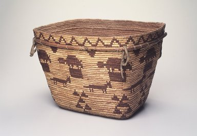 Tsilhqot'in (Chilcotin) (Native American). Burden Basket, early 20th century. Plant fiber, pigment or dye, buckskin, 9 1/2 x 14 3/4 x 11 1/2 in. (24.1 x 37.5 x 29.2 cm). Brooklyn Museum, Brooklyn Museum Collection, X854.1. Creative Commons-BY