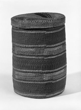 Tlingit (Native American). Twined Cylinder Basket with Lid with False Embroidery, early 20th century. Spruce root, grass, dye, 7 1/2 x 5 1/2in. (19 x 14cm). Brooklyn Museum, Brooklyn Museum Collection, X854.20a-b. Creative Commons-BY