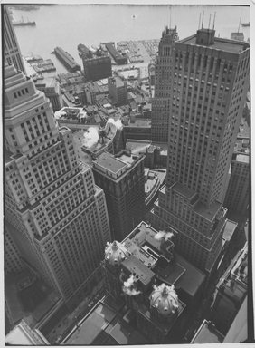 Berenice Abbott (American, 1898-1991). Water Front: From Roof of Irving Trust Co. Building, May 4, 1938. Gelatin silver photograph, 10 x 8 in. (25.4 x 20.3cm). Brooklyn Museum, Brooklyn Museum Collection, X858.19