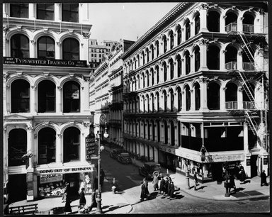 Berenice Abbott (American, 1898-1991). Broadway and Thomas Street, Manhattan, March 6, 1936. Gelatin silver photograph, 7 5/8 x 9 9/16 in. (19.4 x 24.3 cm). Brooklyn Museum, Brooklyn Museum Collection, X858.23