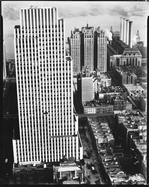 Berenice Abbott (American, 1898-1991). Daily News Building, November 21,1935. Gelatin silver photograph, 9 15/16 x 8 in. (25.2 x 20.3 cm). Brooklyn Museum, Brooklyn Museum Collection, X858.32
