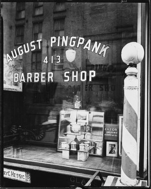 Berenice Abbott (American, 1898-1991). Pingpank Barber Shop, May 18, 1939. Gelatin silver photograph, sheet: 9 15/16 x 7 7/8 in. (25.2 x 20 cm). Brooklyn Museum, Brooklyn Museum Collection, X858.42