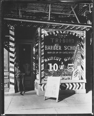 Berenice Abbott (American, 1898-1991). Tri-Boro Barber School, October 24, 1935. Gelatin silver photograph, sheet: 9 7/8 x 7 7/8 in. (25.1 x 20 cm). Brooklyn Museum, Brooklyn Museum Collection, X858.5