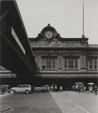 Berenice Abbott (American, 1898-1991). Ferry Station Baltimore & Ohio R.R., West St., August 12, 1936. Gelatin silver photograph, Sheet: 8 5/8 x 7 1/2 in. (21.9 x 19.1 cm). Brooklyn Museum, Brooklyn Museum Collection, X858.68
