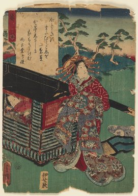 Utagawa Toyokuni III  (Kunisada) (Japanese, 1786-1864). Scene from a Genji Series, 1600-1867. Woodblock print, 9 3/4 x 7 in. (24.8 x 17.8 cm). Brooklyn Museum, Brooklyn Museum Collection, X864.2