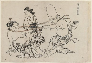 Okumura Masanobu (Japanese, 1686-1764). Fukurojin Tries to Lift Wench, 18th century. Woodblock print, 10 1/2 x 15 1/4 in. (26.7 x 38.7 cm). Brooklyn Museum, Brooklyn Museum Collection, X879