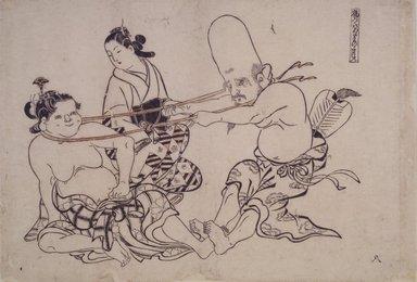 Okumura Masanobu (Japanese, 1686-1764). Fukurojin Tries to Lift Wench, 18th century. Woodblock print, 10 1/2 x 15 1/4 in. (26.7 x 38.7 cm). Brooklyn Museum, Brooklyn Museum Collection, X879