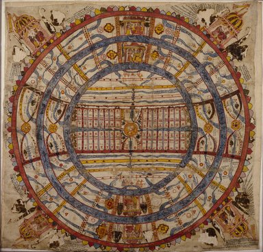 Indian. Cosmic Diagram, 18th century. Opaque watercolor on cotton, sheet: 35 1/2 x 36 in.  (90.2 x 91.4 cm). Brooklyn Museum, Brooklyn Museum Collection, X899.1