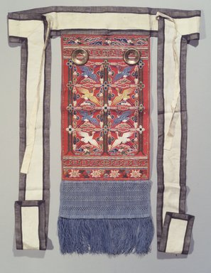 Rear Embroidered Panel (Husu), 19th century. Silk, gilt-copper, wool, 29 1/2 x 10 1/2 x 32 1/16 in. (74.9 x 26.7 x 81.5 cm). Brooklyn Museum, Brooklyn Museum Collection, X962. Creative Commons-BY