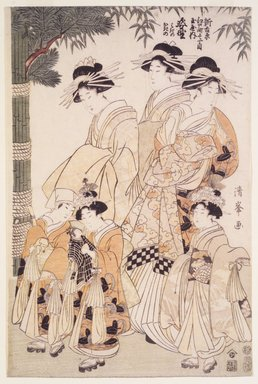 Torii Kiyomine (Japanese, 1787-1869). New Year's Parade in the Yoshiwara, 1807-1808. Woodblock print, Each: 14 3/4 x 9 7/8 in. (37.5 x 25.1 cm). Brooklyn Museum, Brooklyn Museum Collection, X996a-c