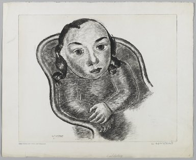 George Constant (American, 1892-1978). Girl Resting. Etching, drypoint on paper, Sheet: 14 1/2 x 17 13/16 in. (36.8 x 45.3 cm). Brooklyn Museum, Brooklyn Museum Collection, X1042.114