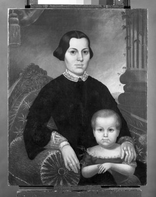 Probably Charles Winter (American, born ca. 1825). Portrait of a Mother and Child, 1853. Oil on canvas, 33 13/16 x 26 13/16 in. (85.9 x 68.1 cm). Brooklyn Museum, Brooklyn Museum Collection, X504.2