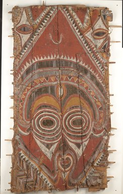 Abelam. Korumbo Gable Painting, 20th century. Bark, pigment, 73 x 44 x 3 in. (185.4 x 111.8 x 7.6 cm). Brooklyn Museum, Brooklyn Museum Collection, X579. Creative Commons-BY