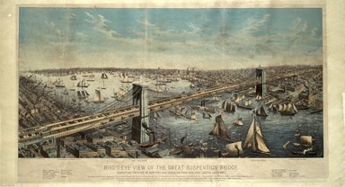 Bird's-Eye View of the Great Suspension Bridge ..., 1883. Lithograph with hand-coloring on wove paper, 17 3/4 x 38 1/8in. (45.1 x 96.8cm). Brooklyn Museum, Brooklyn Museum Collection, X641