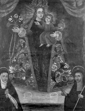 Peruvian. Nuestra Senora del Rosario (Virgin of the Rosary with Worshipers), 18th century. Oil on fabric, Framed: 39 1/4 x 31 1/4 in. (99.7 x 79.4 cm). Brooklyn Museum, Brooklyn Museum Collection, X797