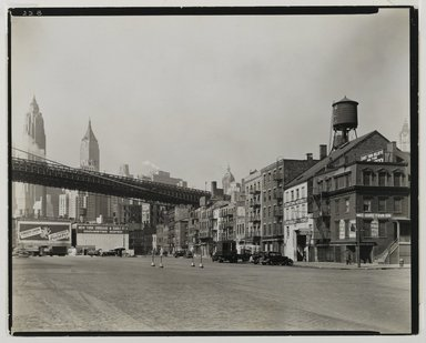 Berenice Abbott (American, 1898-1991). South Street and James Slip, Manhattan, April 1, 1937. Gelatin silver photograph, 8 x 10 in. (20.3 x 25.4 cm). Brooklyn Museum, Brooklyn Museum Collection, X858.61