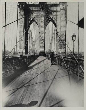 Breading G. Way (American, 1860-1940). East River Bridge, ca. 1888. Gelatin silver photograph, 13 7/8 x 10 7/8 in. (35.3 x 27.6 cm). Brooklyn Museum, Brooklyn Museum Collection, X892.16