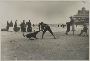 George Bradford Brainerd (American, 1845-1887). Boy and Dog, Iron Pier, Coney Island, Brooklyn, ca. 1880-1885; printed 1940s. Gelatin silver photograph, image: 9 x 13 1/2 in. (22.9 x 34.3 cm). Brooklyn Museum, Brooklyn Museum Collection, X894.150