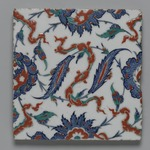 Square Tile with Saz Leaves and Chinese-Inspired Cloud Bands