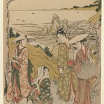 A Company of Pilgrims from Yedo Outside a Tea House on the Hills Behind the Beach of Futami Admiring the View