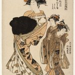 Azumaya, a Yoshiwara Beauty of the Tea House Matsu Hanaya Followed by Two Attendants