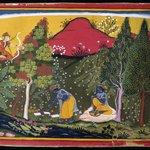 Cupid Disturbs Krishnas Penance, Page from a Gita Govinda Series