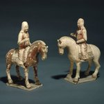 Male Figure Riding Horse, One of Pair